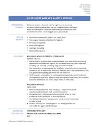 Sample Warehouse Resumeresume For Study Warehouse Resume Free High