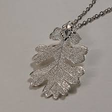 real oak leaf necklace silver plated