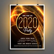 flyer for an event 2020 new year shiny party event flyer template vector free