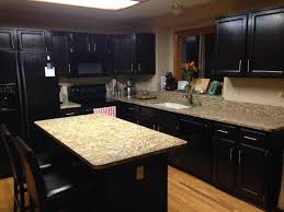 staining oak kitchen cabinets with black color and quartz countertops hardwood floor tiles and