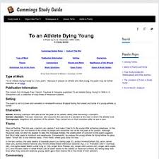 to an athlete dying young essay que