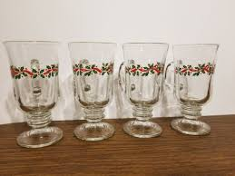 4 glass irish coffee mugs holiday holly red ribbon libbey glass lrs3