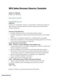 Bpo Resume Sample For Experienced Free Job Resumes