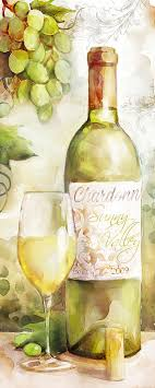 wine bottle painting white wine watercolor by mauro devereaux