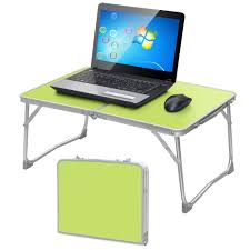 com yaheetech foldable laptop table tray desk stand bed sofa couch w mdf table top aluminum frame office s
