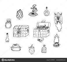 сокровище грудь мультфильм наклейки эскиз клад сохранить