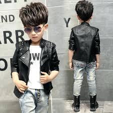 boy black leather jacket teenager girl boys casual solid children outerwear kids girls coats winter jackets
