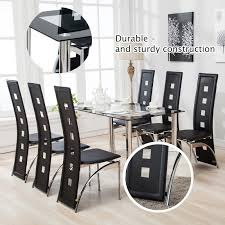 7 piece black dining room set. 7 Piece Dining Table Set 6 Chairs Glass Metal Kitchen Room Breakfast Furniture Black