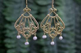 asherah dess of the sea rose gold chandelier earrings