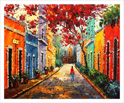 com puerto rico canvas print of oil painting 24 x36 old san juan flamboyant tree capilla del cristo posters prints