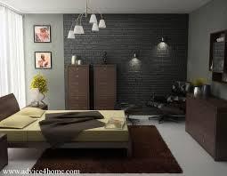 bedroom wall lighting. dark brick bedroom design with hanging light and wall lamp lighting