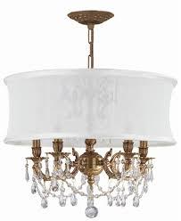 crystal chandelier in antique white silk shade