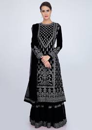 Black Sharara Designs Charcoal Black Sharara Suit Set With Embroidery And Butti Only On Kalki