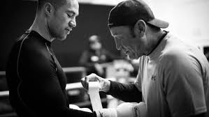 trainer kevin barry wraps joseph parker s hands ahead of