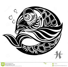 Pisces Drawing Design Zodiac Signs Pisces Tattoo Design Stock Vector