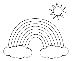 Sun Template Printable Rainbow With Clouds Coloring Page Paradigmministries Info