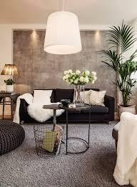 neutral living room black sofa