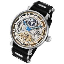 skeleton watches buy brand skeleton watches by invicta rougois automatic skeleton moonphase dual time watch silicone band