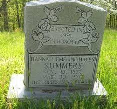 Hannah Emmaline Summers (Hayes) (c.1858 - 1931) - Genealogy