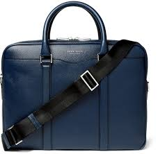 hugo boss signature slim grained leather briefcase