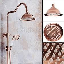 8 inch bathroom round mixer fix rain shower head connector copper rose gold new