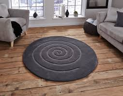 think rugs spiral grey circle rug