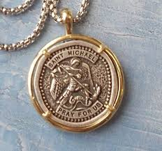 tone st michael pendant necklace medal