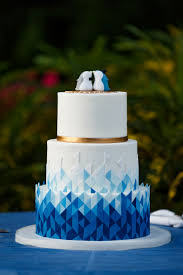 Modern Blue Ombre Geometric Cake Blue Wedding Cakes Geometric