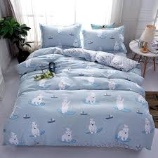 home textile twin queen king bedclothes bed linen polar bear white blue duvet cover sheet pillowcase girl kid teen bedding sets extra long twin bedding