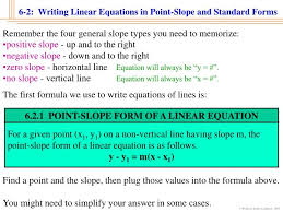 6 2 1 point slope form of a linear equation