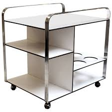 1960s Chrome and White Mid-Century Modern Bar Cart from France 1