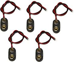 T-Type <b>9V Battery</b> Connector Pack of 5 <b>9 Volt Battery</b> Clip ...