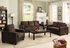 Microfiber Living Room Set Laverne Contemporary Style Chocolate Elephant Skin Microfiber Sofa