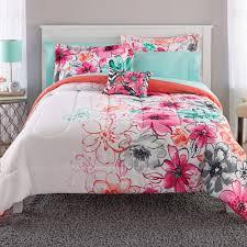 girls comforter set turquoise pink gray watercolor twin xl