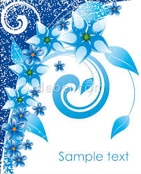 eps cdr file format blue flowers cover the background design template