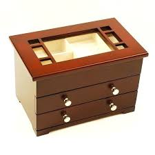 glass top wooden jewelry display box