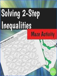 solving two step inequalities worksheet answers