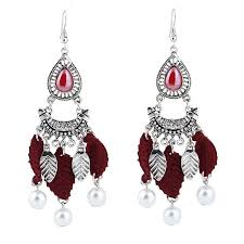 trendy faux pearl teardrop leaf chandelier earrings