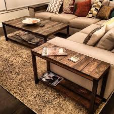Nice little trifecta table set! Custom-made to fit this couch perfectly -  Coffee Table DIY