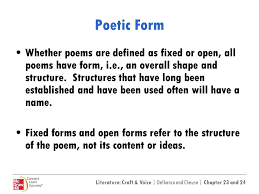 poems form 23 24 poetry fixed and open forms ppt video online download