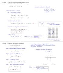 completing the square notes completing the square finding center of circle