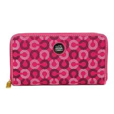 Coach Op Art Large Fuchsia Wallets DWA