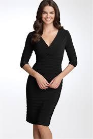 V neck black dress with sleeves