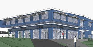office exterior design. Exterior View; Section Through Divided Units; Canopy Design Office T
