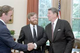 reagan oval office. President Ronald Reagan Meets With Charles Douglas Home, Editor Of London Times, And Its Oval Office