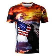 Viasa Fashion Summer Mens The Old Glory Eagle 3d Printing Tees Sleeve T Shirt Blouse Tops
