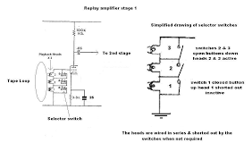 how it works below is a schematic of the first stage of the replay amplifier on the right of it i have drawn a simplified schematic of the heads and switches
