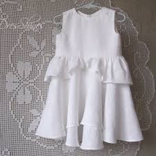 White linen baby girl sleeveless dress with lace and bloomers Ruched first  birthday ou