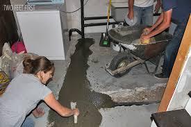 re cementing basement floor