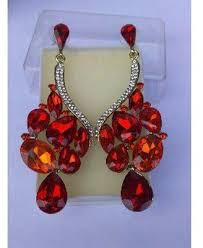 chandelier earring with red stones